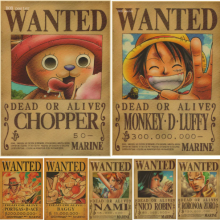 Home Decor Wall Stickers Vintage Paper Anime Poster One Piece Posters Luffy Wanted
