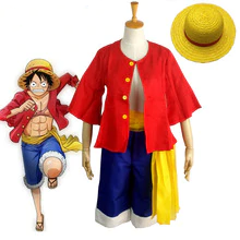 Monkey D. Luffy Cosplay Costumes Shirt Pants Wigs Shoes