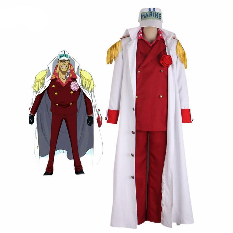 Ainclu Anime ONE PIECE Cosplay Costumes Akainu Sakazuki Borsalino Sengoku Halloween Justice White Navy Cosplay Uniforms