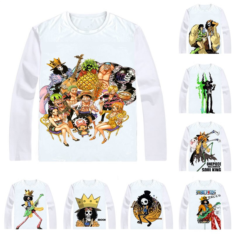 COOLPRINT ONE PIECE T-Shirts Long Sleeve Shirts Anime Manga Wan Pisu Straw Hat Pirates Humming Brook Soul King Burukku T-Shirts