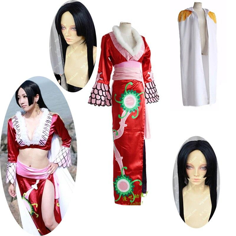 5PCS One Piece Boa Hancock cosplay costume Boa Hancock One Piece cosplay costume Halloween costumes for women adult Top + skirt + belt+jacket + wig free delivery