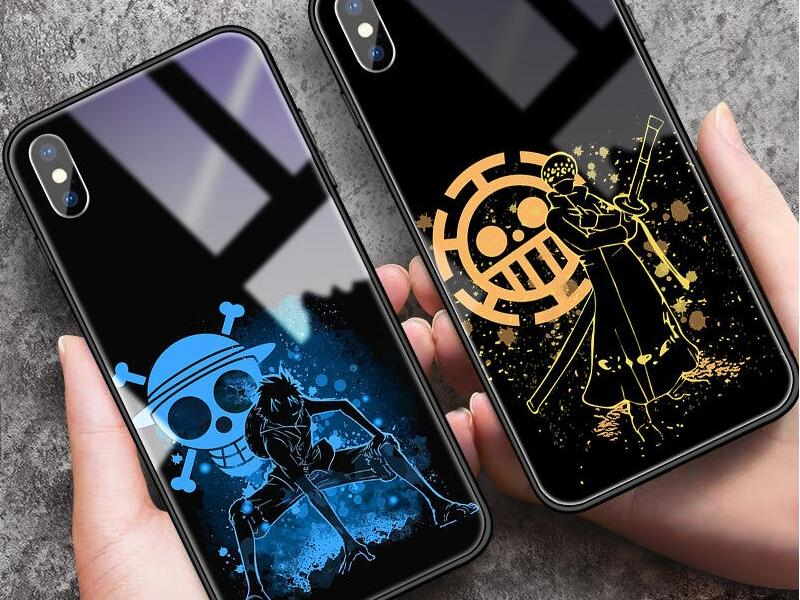 One Piece Luffy Tempered Glass Phone Case iPhone 12 11 Pro SE XSmax XR XS X 8 7 6 Plus